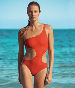One piece swimsuit orange.