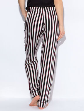 Pantalon rayé en viscose noir / écru / rouge.