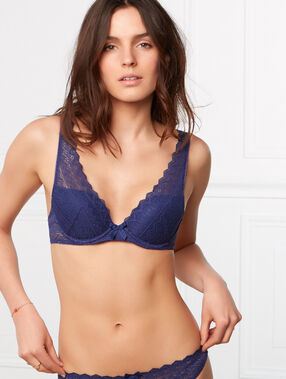 Lace triangle push up bra blue.