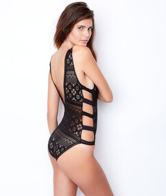Body dentelle, détail élastiqué côté noir.