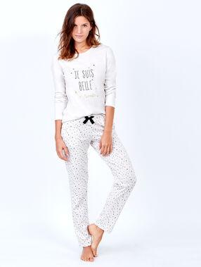 Pantalon imprimé, détails glitter beige.