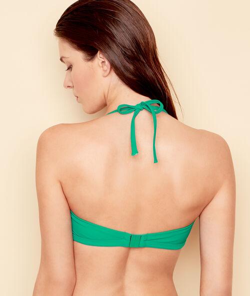 Haut de maillot de bain bandeau uni, avec détail noeud;${refinementColor}