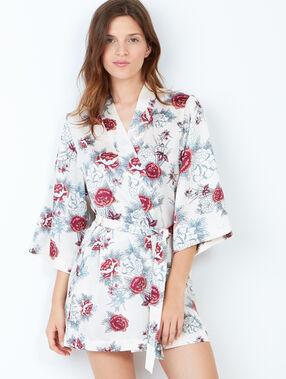 Déshabillé kimono imprimé fleuri ecru.