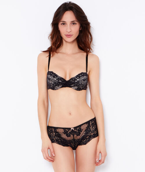 Lace and satin padded demi cup bra;${refinementColor}