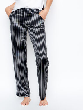 Pantalon satin rayé noir.