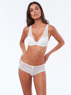 Triangle push up tout dentelle blanc.