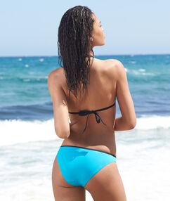 Haut de maillot de bain triangle push up drapé bleu.