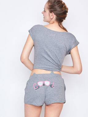 Printed pyjama short grey.