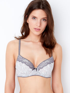 Printed micro padded demi cup bra grey / pink / white.