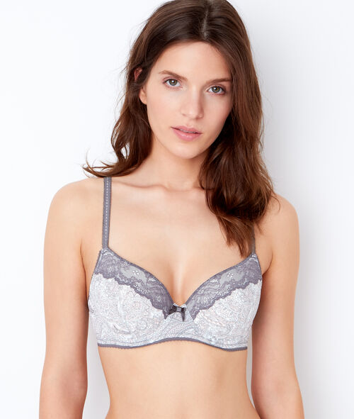 Printed micro padded demi cup bra;${refinementColor}
