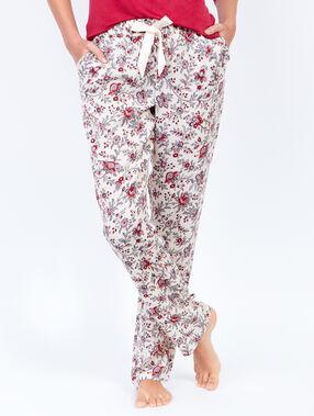 Pantalon imprimé fleuri ecru.