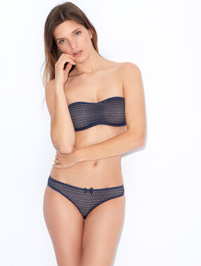 Wireless lace bandeau bra navy blue.