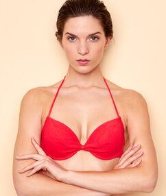 Sujetador bikini push up estampado cachemira en relieve. copa b rojo.