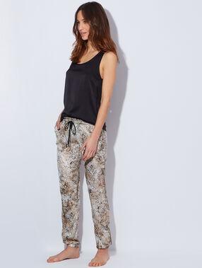 Pantalon fluide satin imprimé léopard beige / marron.