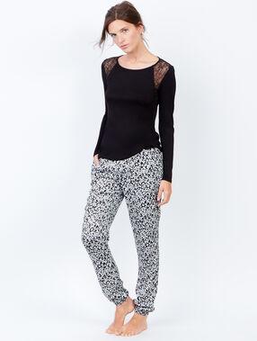 Printed pyjama pants black.