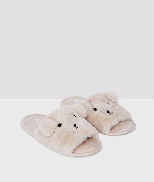 Home flip-flops in faux fur;${refinementColor}