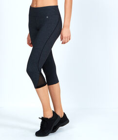 Croped pants, ultra-strech and ultra-breathable material, reflecting details grey.