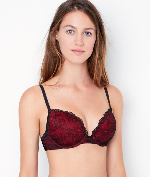 Lace padded demi cup bra, D cup;${refinementColor}