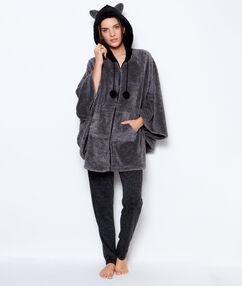 Poncho pyjama zippé toucher polaire anthracite.