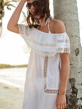 Robe de plage, épaules dénudées blanc.