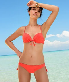 Braguita bikini lisa con pompones c.orange.