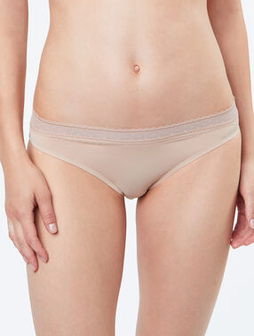 Micro and lace knickers beige.