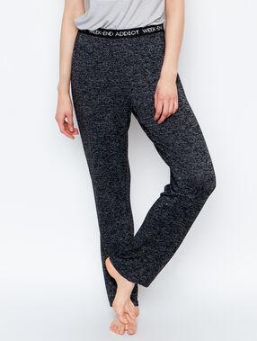 Pantalon homewear maille chinée noir.
