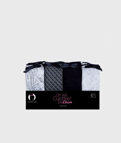 Lot de 4 strings coton noir.