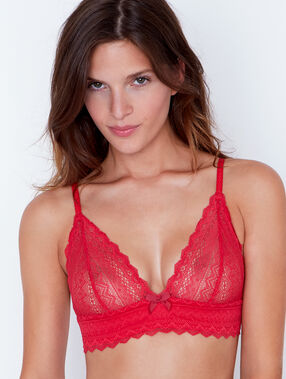 Lace wireless triangle bra red.