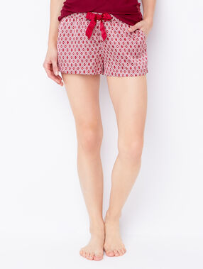 Printed pyjama shorts red.