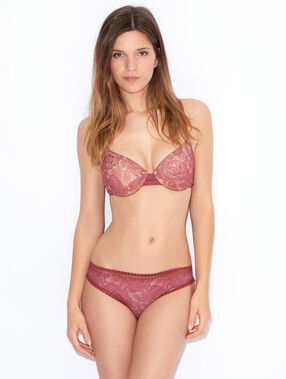 Lace padded demi cup bra red.