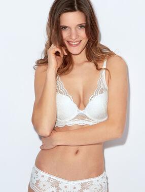 Lace triangle bra, push up white.