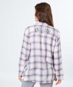 Chemise de nuit à carreaux ecru.