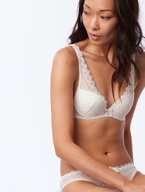 Lace triangle push up bra off white.