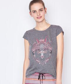 T-shirt imprimé loup gris.