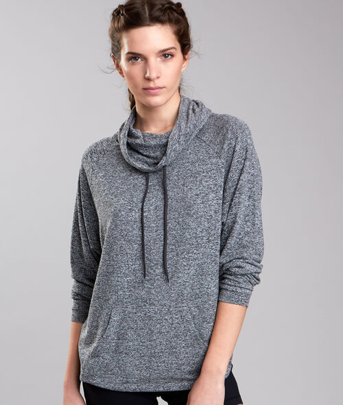 Sweat fluide chiné, col cheminée;${refinementColor}