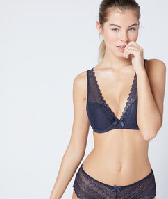 Triangle push-up tout dentelle anthracite.