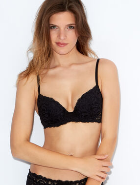 Lace padded demi cup bra, b to e cups black.