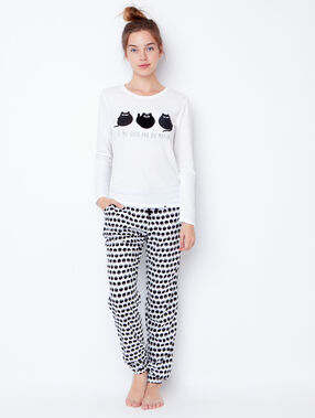 Printed pyjama top white.