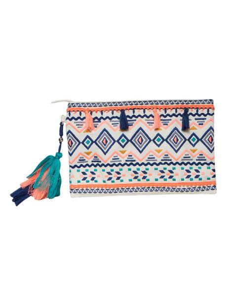 Pochette brodée aztèque, à pompons