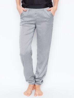 Pantalon fluide micro imprime ecru.