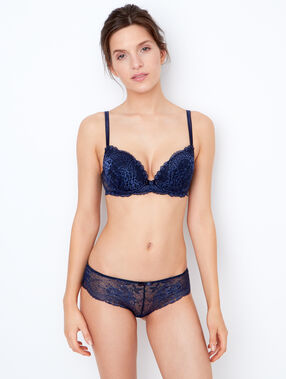 Lace padded demi cup bra navy blue.
