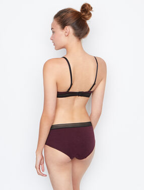 Shorty en coton bordeaux grenat.