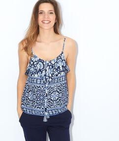 Koszulka lejaca z nadrukiem mozaiki, detal przy dekolcie bleu marine.