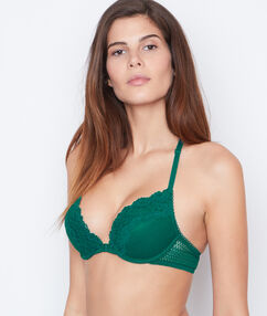 Lace magic up® bra green.