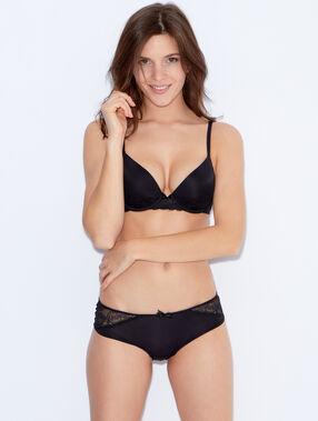 Lace and micro magic up® bra black.