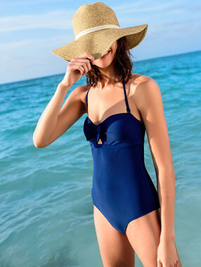 One-piece swimsuit blue.