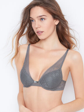 Lace triangle bra khaki.