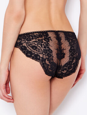Lace and satin knickers black.