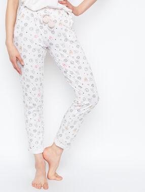 Pantalon imprimé montsres blanc.